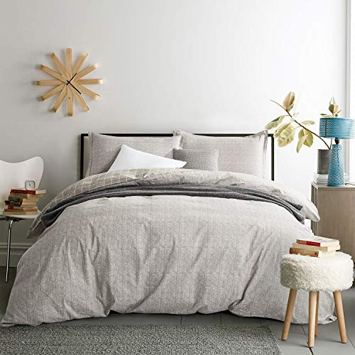 Villa Feel Duvet Cover Queen Egyptian Cotton Bedding Duvet Cover Set 3 Piece Ultra Soft And Easy Care Simple Vintage Style Percale Weave Farmhouse Bedding Soft And DurableQueen Grey 0
