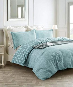 Villa Feel Queen Duvet Cover Egyptian Cotton Bedding Queen Duvet Cover Set 3 Piece Ultra Soft And Easy Care Simple Vintage Style Percale Weave High Thread Count Farmhouse BeddingQueenTeal 0 0 300x360