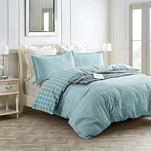 Villa Feel Queen Duvet Cover Egyptian Cotton Bedding Queen Duvet Cover Set 3 Piece Ultra Soft And Easy Care Simple Vintage Style Percale Weave High Thread Count Farmhouse BeddingQueenTeal 0 0