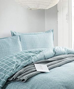Villa Feel Queen Duvet Cover Egyptian Cotton Bedding Queen Duvet Cover Set 3 Piece Ultra Soft And Easy Care Simple Vintage Style Percale Weave High Thread Count Farmhouse BeddingQueenTeal 0 1 300x360