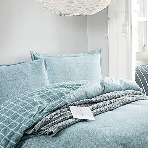 Villa Feel Queen Duvet Cover Egyptian Cotton Bedding Queen Duvet Cover Set 3 Piece Ultra Soft And Easy Care Simple Vintage Style Percale Weave High Thread Count Farmhouse BeddingQueenTeal 0 1