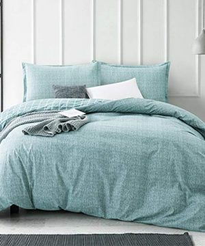 Villa Feel Queen Duvet Cover Egyptian Cotton Bedding Queen Duvet Cover Set 3 Piece Ultra Soft And Easy Care Simple Vintage Style Percale Weave High Thread Count Farmhouse BeddingQueenTeal 0 300x360