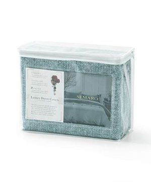 Villa Feel Queen Duvet Cover Egyptian Cotton Bedding Queen Duvet Cover Set 3 Piece Ultra Soft And Easy Care Simple Vintage Style Percale Weave High Thread Count Farmhouse BeddingQueenTeal 0 5 300x360