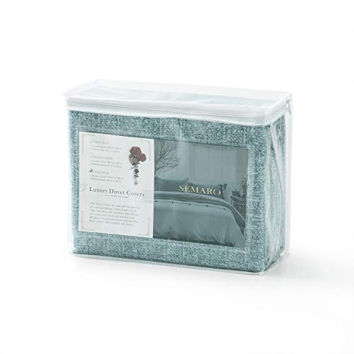 Villa Feel Queen Duvet Cover Egyptian Cotton Bedding Queen Duvet Cover Set 3 Piece Ultra Soft And Easy Care Simple Vintage Style Percale Weave High Thread Count Farmhouse BeddingQueenTeal 0 5