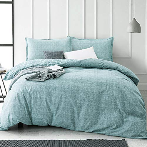 Villa Feel Queen Duvet Cover Egyptian Cotton Bedding Queen Duvet Cover Set 3 Piece Ultra Soft And Easy Care Simple Vintage Style Percale Weave High Thread Count Farmhouse BeddingQueenTeal 0
