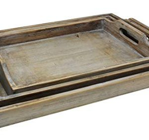 Vintage Rustic Torched Wood Country Nesting Breakfast Trays White Washed Tray Set For Serving Breakfast Coffee Lunch Or Dinner 3 Piece 0 1 300x282