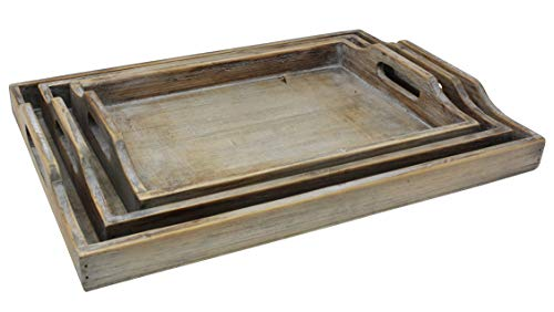 Vintage Rustic Torched Wood Country Nesting Breakfast Trays White Washed Tray Set For Serving Breakfast Coffee Lunch Or Dinner 3 Piece 0 1