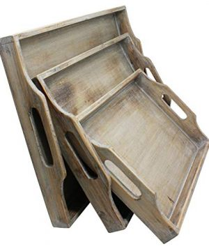 Vintage Rustic Torched Wood Country Nesting Breakfast Trays White Washed Tray Set For Serving Breakfast Coffee Lunch Or Dinner 3 Piece 0 2 300x360