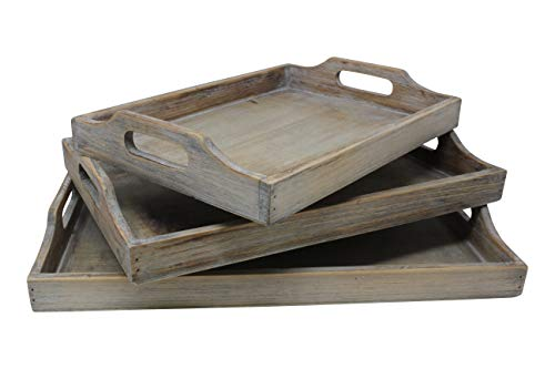 Vintage Rustic Torched Wood Country Nesting Breakfast Trays White Washed Tray Set For Serving Breakfast Coffee Lunch Or Dinner 3 Piece 0