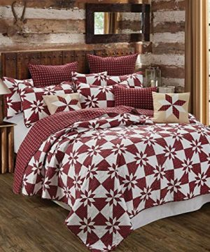 Virah Bella Hunters Star Country Farm House Style Reversible Printed Quilt Set Red King 0 300x360
