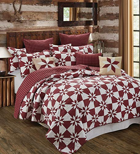 Virah Bella Hunters Star Country Farm House Style Reversible Printed Quilt Set Red King 0
