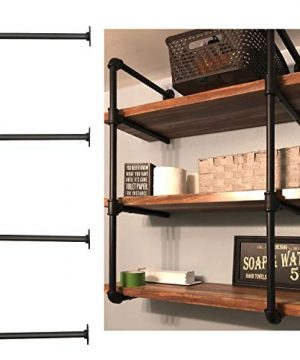 WLIVE Industrial Wall Mount Iron Pipe Shelf Bracket 3 Tier 2pcs 36Tall And 12Deep Shelving Unit Vintage Retro Black DIY Open Bookshelf Storage Shelves Display Rack For Home Kitchen Office 0 300x360