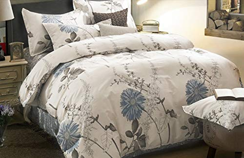 Wake In Cloud Floral Comforter Set Botanical Flowers Pattern Printed 100 Cotton Fabric With Soft Microfiber Inner Fill Bedding 3pcs Queen Size 0
