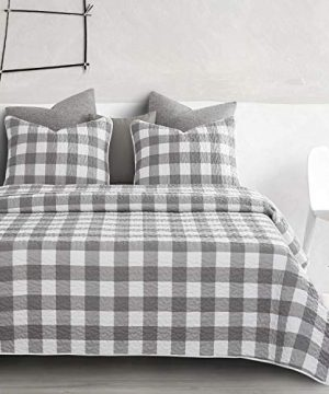 Wake In Cloud Gray Plaid Quilt Set Buffalo Check Gingham Geometric Checker Pattern Printed In Grey White Soft Microfiber Bedspread Coverlet Bedding 3pcs King Size 0 0 300x360