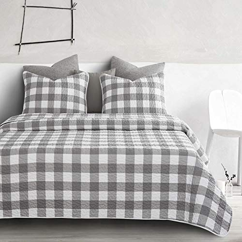 Wake In Cloud Gray Plaid Quilt Set Buffalo Check Gingham Geometric Checker Pattern Printed In Grey White Soft Microfiber Bedspread Coverlet Bedding 3pcs King Size 0 0