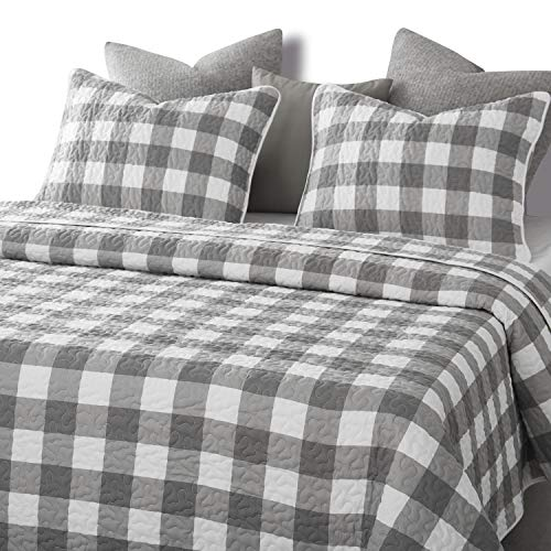 Wake In Cloud Gray Plaid Quilt Set Buffalo Check Gingham Geometric Checker Pattern Printed In Grey White Soft Microfiber Bedspread Coverlet Bedding 3pcs King Size 0 1