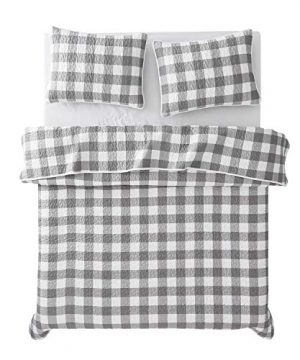 Wake In Cloud Gray Plaid Quilt Set Buffalo Check Gingham Geometric Checker Pattern Printed In Grey White Soft Microfiber Bedspread Coverlet Bedding 3pcs King Size 0 2 300x360