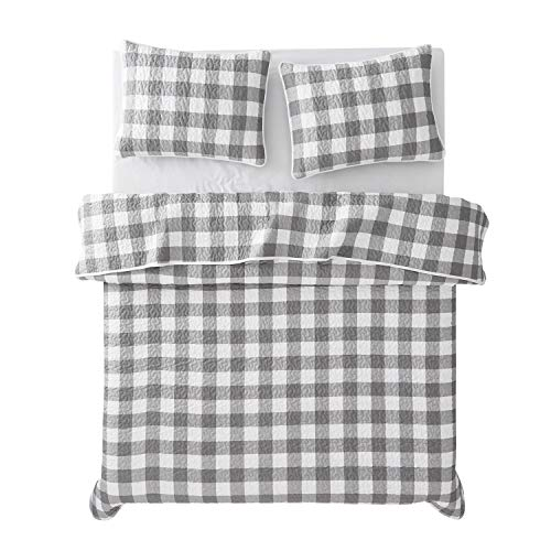 Wake In Cloud Gray Plaid Quilt Set Buffalo Check Gingham Geometric Checker Pattern Printed In Grey White Soft Microfiber Bedspread Coverlet Bedding 3pcs King Size 0 2