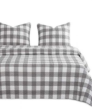 Wake In Cloud Gray Plaid Quilt Set Buffalo Check Gingham Geometric Checker Pattern Printed In Grey White Soft Microfiber Bedspread Coverlet Bedding 3pcs King Size 0 300x360