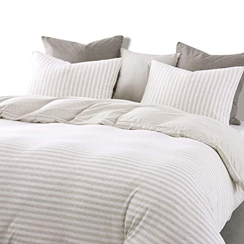Wake In Cloud Jersey Cotton Duvet Cover Set Light Coffee Color Striped Stripes Solid Plain Color On Reverse Comfy Soft Knit T Shirt Jersey Bedding With Zipper Closure 3pcs Queen Size 0 0