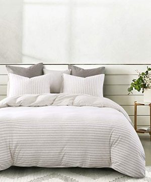 Wake In Cloud Jersey Cotton Duvet Cover Set Light Coffee Color Striped Stripes Solid Plain Color On Reverse Comfy Soft Knit T Shirt Jersey Bedding With Zipper Closure 3pcs Queen Size 0 300x360