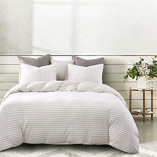 Wake In Cloud Jersey Cotton Duvet Cover Set Light Coffee Color Striped Stripes Solid Plain Color On Reverse Comfy Soft Knit T Shirt Jersey Bedding With Zipper Closure 3pcs Queen Size 0