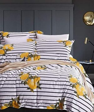 Wake In Cloud Striped Comforter Set 100 Cotton Fabric With Soft Microfiber Fill Bedding Yellow Lemon Pattern With Black And White Stripes Printed 3pcs Queen Size 0 300x360