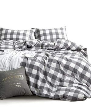 Wake In Cloud Washed Cotton Duvet Cover Set Buffalo Check Gingham Plaid Geometric Checker Pattern Printed In Gray Grey And White 100 Cotton Bedding With Zipper Closure 3pcs Full Size 0 300x360