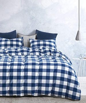 Wake In Cloud Washed Cotton Duvet Cover Set Buffalo Check Gingham Plaid Geometric Checker Pattern Printed In Navy Blue White 100 Cotton Bedding With Zipper Closure 3pcs Queen Size 0 0 300x360