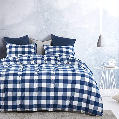 Wake In Cloud Washed Cotton Duvet Cover Set Buffalo Check Gingham Plaid Geometric Checker Pattern Printed In Navy Blue White 100 Cotton Bedding With Zipper Closure 3pcs Queen Size 0 0