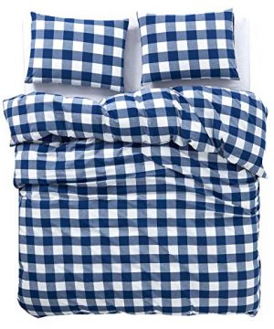 Wake In Cloud Washed Cotton Duvet Cover Set Buffalo Check Gingham Plaid Geometric Checker Pattern Printed In Navy Blue White 100 Cotton Bedding With Zipper Closure 3pcs Queen Size 0 1 300x360