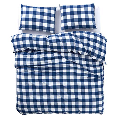 Wake In Cloud Washed Cotton Duvet Cover Set Buffalo Check Gingham Plaid Geometric Checker Pattern Printed In Navy Blue White 100 Cotton Bedding With Zipper Closure 3pcs Queen Size 0 1