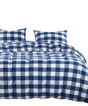 Wake In Cloud Washed Cotton Duvet Cover Set Buffalo Check Gingham Plaid Geometric Checker Pattern Printed In Navy Blue White 100 Cotton Bedding With Zipper Closure 3pcs Queen Size 0 300x360