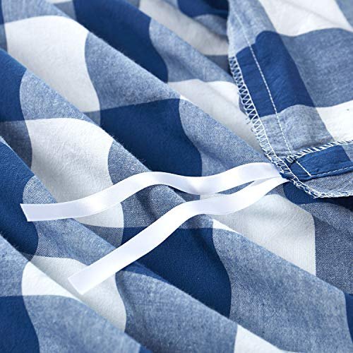 Wake In Cloud Washed Cotton Duvet Cover Set Buffalo Check Gingham Plaid Geometric Checker Pattern Printed In Navy Blue White 100 Cotton Bedding With Zipper Closure 3pcs Queen Size 0 4
