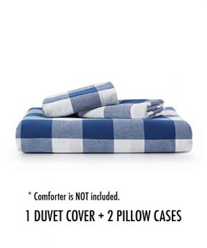 Wake In Cloud Washed Cotton Duvet Cover Set Buffalo Check Gingham Plaid Geometric Checker Pattern Printed In Navy Blue White 100 Cotton Bedding With Zipper Closure 3pcs Queen Size 0 5 300x360
