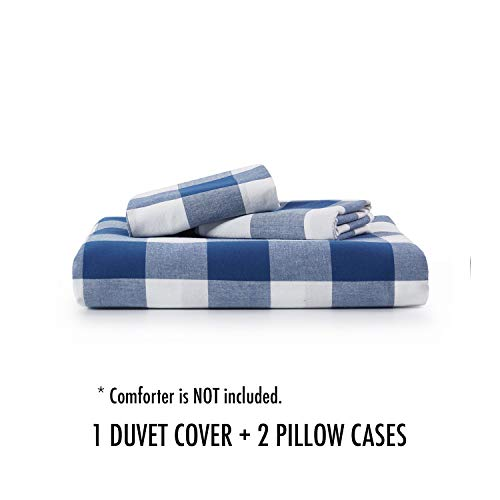 Wake In Cloud Washed Cotton Duvet Cover Set Buffalo Check Gingham Plaid Geometric Checker Pattern Printed In Navy Blue White 100 Cotton Bedding With Zipper Closure 3pcs Queen Size 0 5