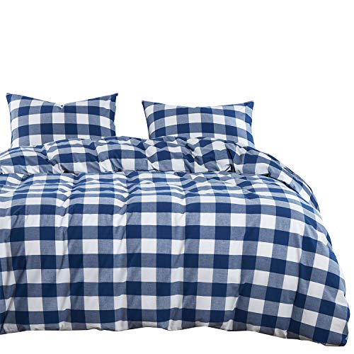 Wake In Cloud Washed Cotton Duvet Cover Set Buffalo Check Gingham Plaid Geometric Checker Pattern Printed In Navy Blue White 100 Cotton Bedding With Zipper Closure 3pcs Queen Size 0
