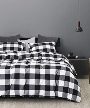 Wake In Cloud Washed Cotton Duvet Cover Set Buffalo Check Gingham Plaid Geometric Checker Printed In White Black And Gray 100 Cotton Bedding With Zipper Closure 3pcs Queen Size 0 0 300x360