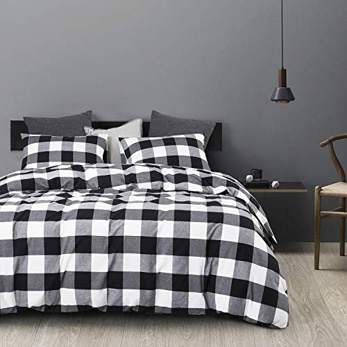 Wake In Cloud Washed Cotton Duvet Cover Set Buffalo Check Gingham Plaid Geometric Checker Printed In White Black And Gray 100 Cotton Bedding With Zipper Closure 3pcs Queen Size 0 0