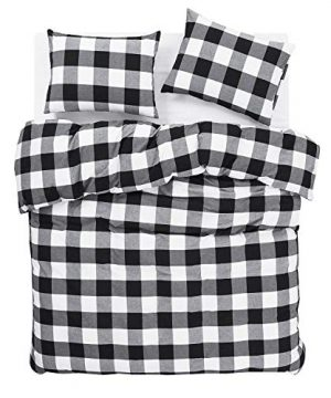 Wake In Cloud Washed Cotton Duvet Cover Set Buffalo Check Gingham Plaid Geometric Checker Printed In White Black And Gray 100 Cotton Bedding With Zipper Closure 3pcs Queen Size 0 1 300x360
