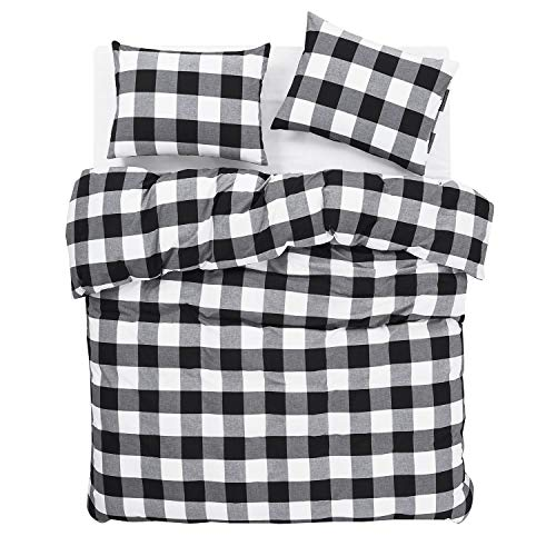 Wake In Cloud Washed Cotton Duvet Cover Set Buffalo Check Gingham Plaid Geometric Checker Printed In White Black And Gray 100 Cotton Bedding With Zipper Closure 3pcs Queen Size 0 1