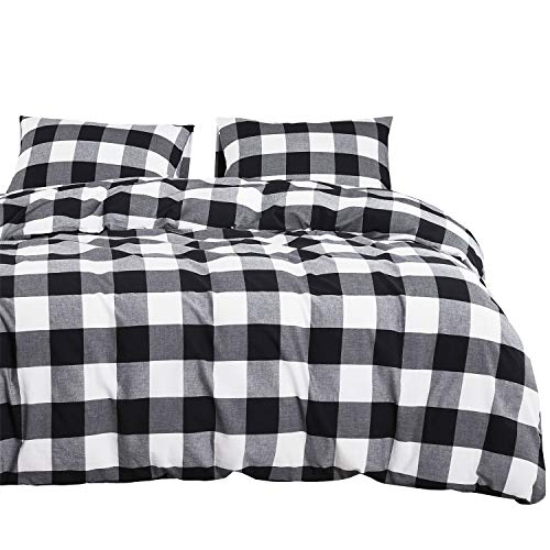 Wake In Cloud Washed Cotton Duvet Cover Set Buffalo Check Gingham Plaid Geometric Checker Printed In White Black And Gray 100 Cotton Bedding With Zipper Closure 3pcs Queen Size 0