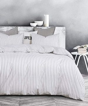 Wake In Cloud White Striped Duvet Cover Set 100 Washed Cotton Bedding Black Vertical Ticking Stripes Pattern Printed On White With Zipper Closure 3pcs Queen Size 0 0 300x360
