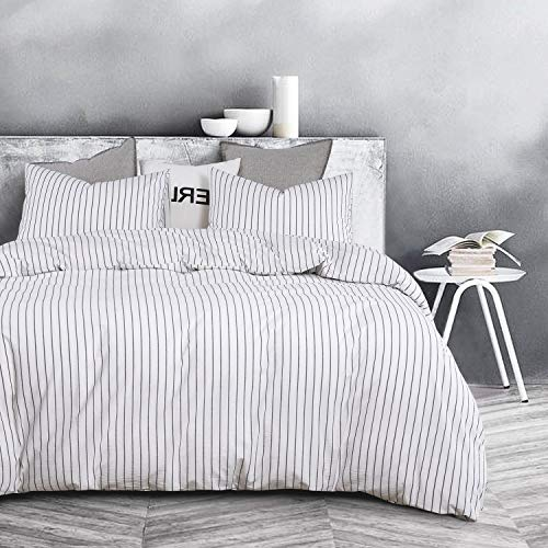 Wake In Cloud White Striped Duvet Cover Set 100 Washed Cotton Bedding Black Vertical Ticking Stripes Pattern Printed On White With Zipper Closure 3pcs Queen Size 0 0