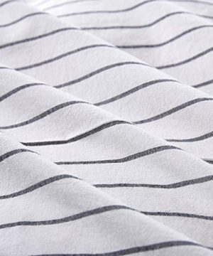 Wake In Cloud White Striped Duvet Cover Set 100 Washed Cotton Bedding Black Vertical Ticking Stripes Pattern Printed On White With Zipper Closure 3pcs Queen Size 0 2 300x360