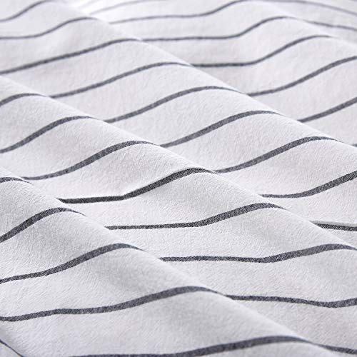Wake In Cloud White Striped Duvet Cover Set 100 Washed Cotton Bedding Black Vertical Ticking Stripes Pattern Printed On White With Zipper Closure 3pcs Queen Size 0 2