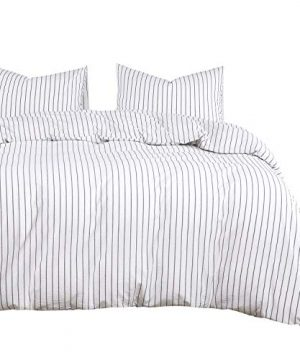 Wake In Cloud White Striped Duvet Cover Set 100 Washed Cotton Bedding Black Vertical Ticking Stripes Pattern Printed On White With Zipper Closure 3pcs Queen Size 0 300x360
