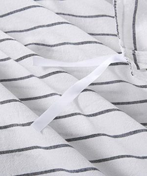 Wake In Cloud White Striped Duvet Cover Set 100 Washed Cotton Bedding Black Vertical Ticking Stripes Pattern Printed On White With Zipper Closure 3pcs Queen Size 0 4 300x360