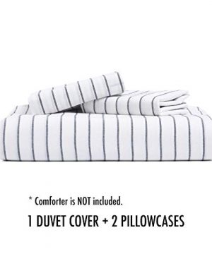 Wake In Cloud White Striped Duvet Cover Set 100 Washed Cotton Bedding Black Vertical Ticking Stripes Pattern Printed On White With Zipper Closure 3pcs Queen Size 0 5 300x360