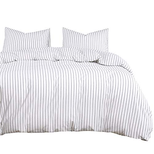 Wake In Cloud White Striped Duvet Cover Set 100 Washed Cotton Bedding Black Vertical Ticking Stripes Pattern Printed On White With Zipper Closure 3pcs Queen Size 0